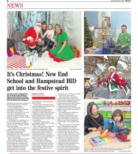 A news article from the Ham and High with images of Father Christmas and children in Hampstead. Photographs by Siorna Ashby