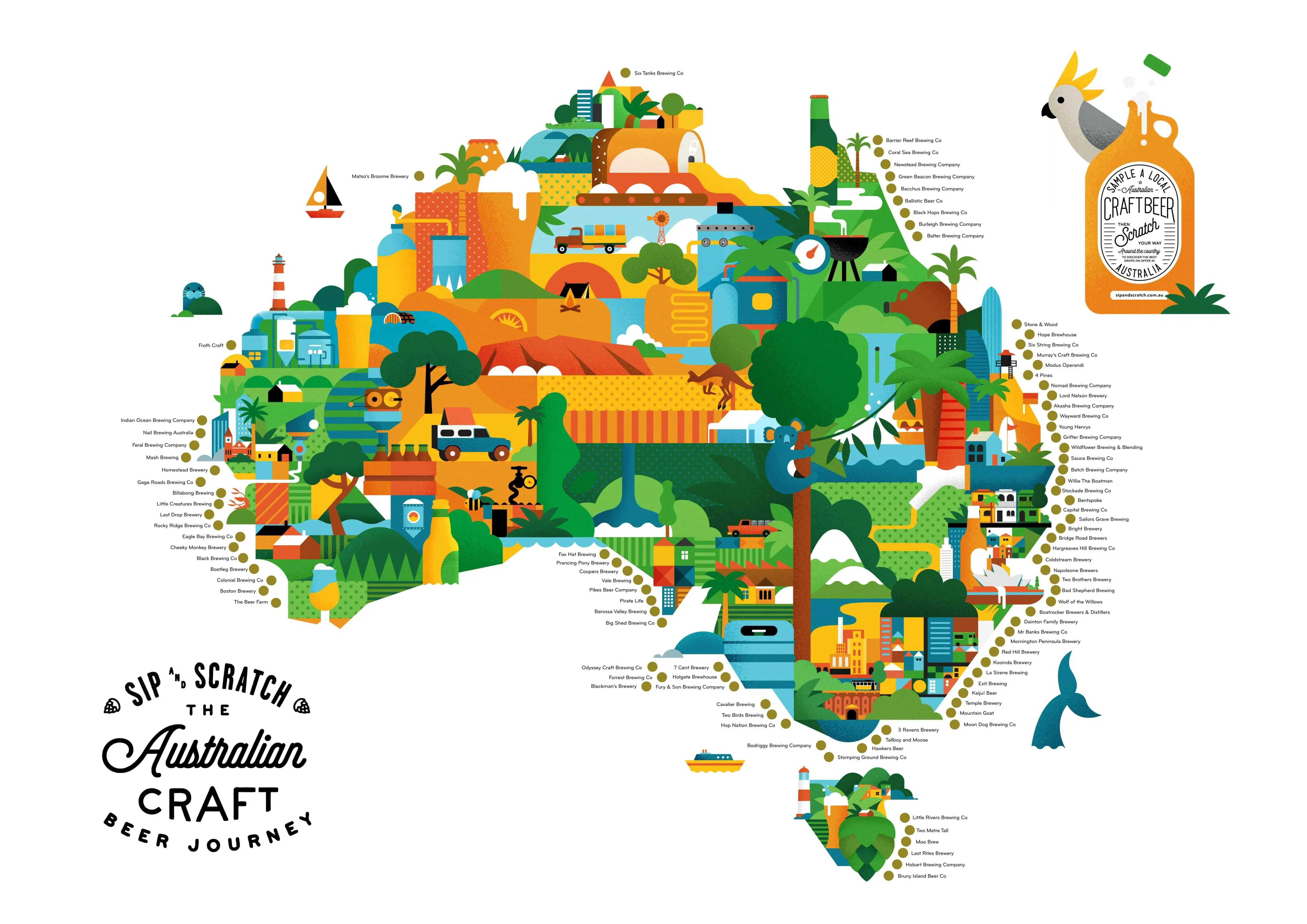 Australia On A Map.A2 Sip And Scratch Map Australia