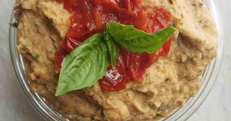 Roasted Tomato Basil Hummus