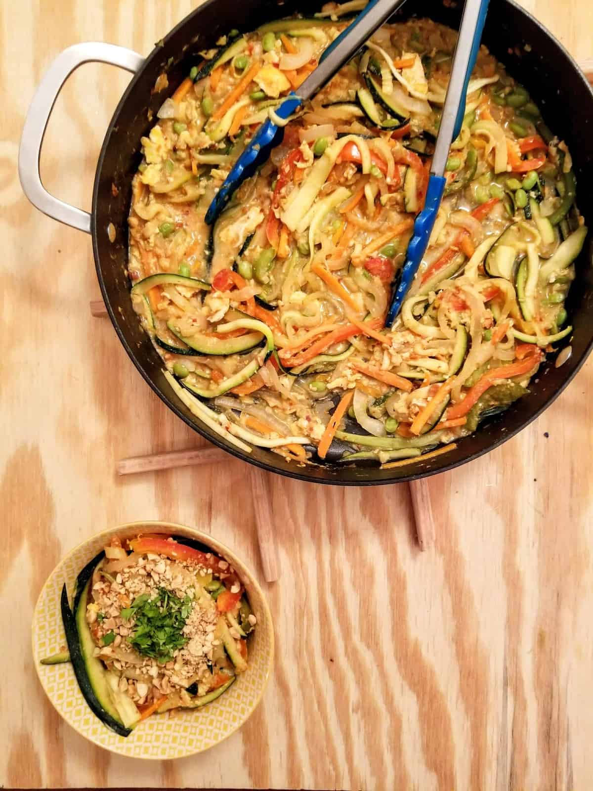 Vegetarian Rainbow Pad Thai with Zoodles
