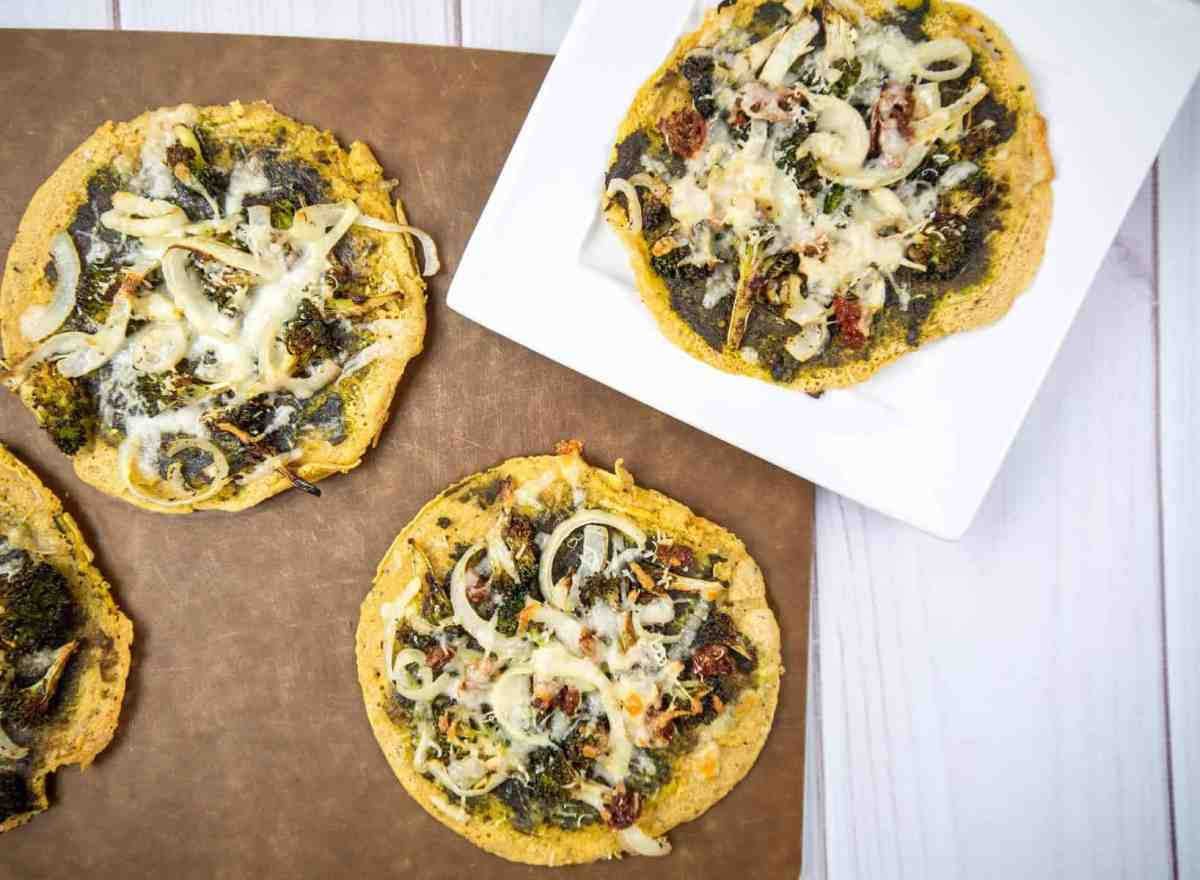 Pesto Chickpea Flatbreads with Broccoli and Parmesan