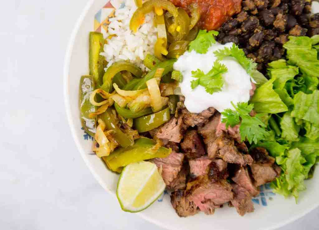 Tequila Lime Steak Fajita Bowl | Sip + Spice
