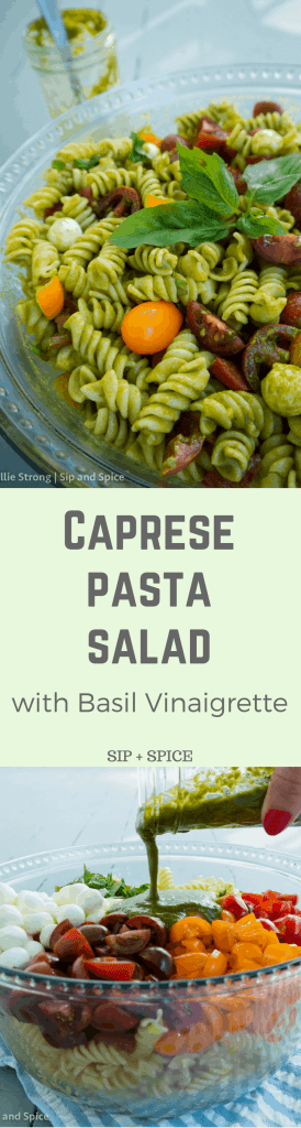 Shake things up at your summer get-together with this Caprese Pasta Salad with Basil Vinaigrette | Sip and Spice #caprese #pastasalad #cleaneating #healthy #sidedish #summer