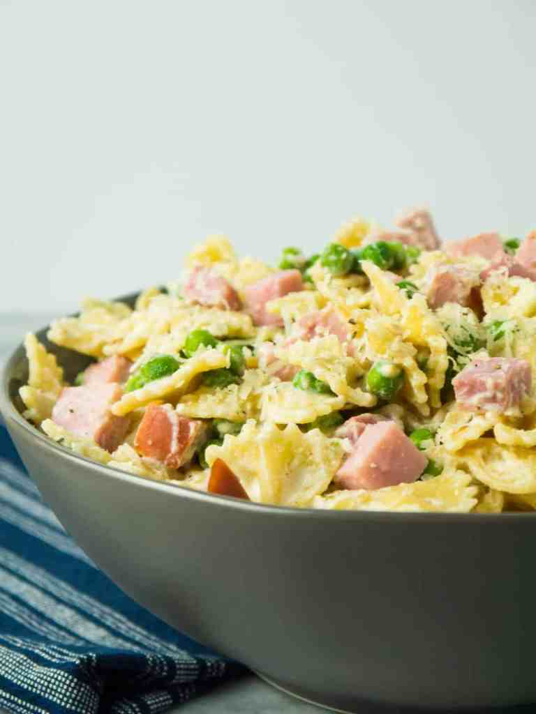 Bowties with Ham, Peas and Ricotta | Sip and Spice
