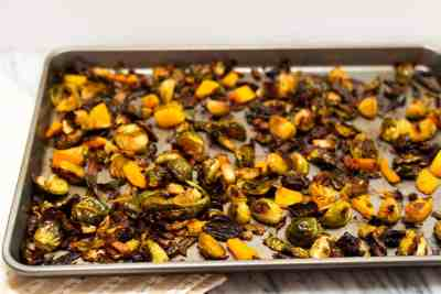 Crispy Brussels Sprouts with Chipotle Butternut Squash and Bacon | Sip and Spice