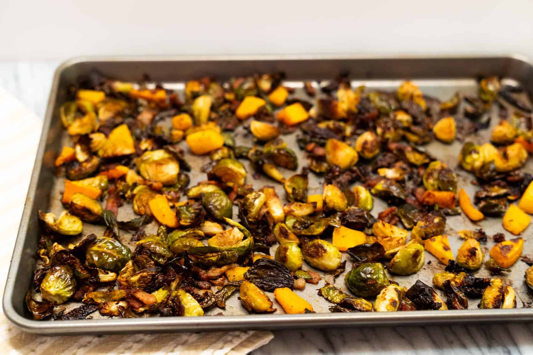 Crispy Brussels Sprouts with Chipotle Butternut Squash and Bacon