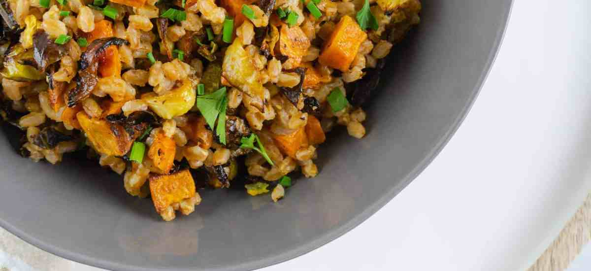 Warm Farro Salad with Sweet Potatoes and Brussels Sprouts