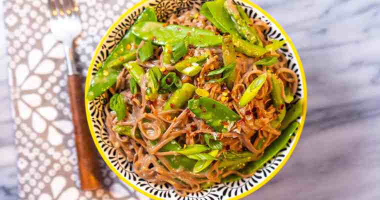 Miso-Butter Soba Noodles with Asparagus and Snow Peas