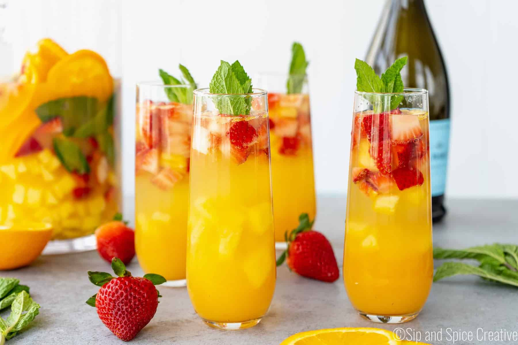 Brunch Sangria Mimosas with Mint and Pineapple