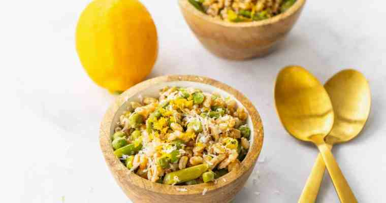 Spring Farro Salad with Asparagus and Meyer Lemon Vinaigrette