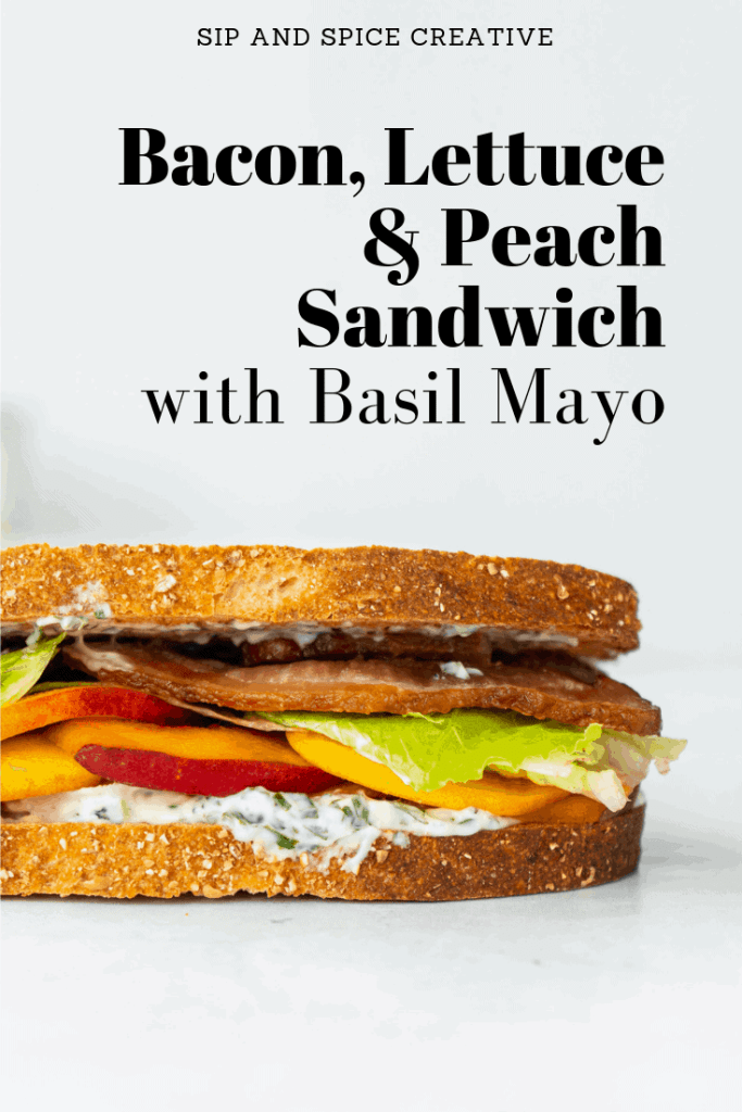 For a fun twist on the classic BLT, try this BLP! A Bacon Lettuce and Peach Sandwich with Basil Mayo is the perfect summer lunch! | Sip and Spice #peachrecipes #peach #sandwich