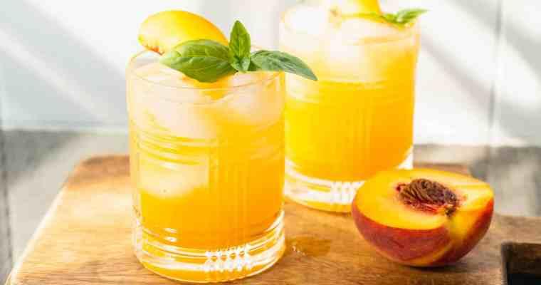 Basil Peach Whiskey Cocktail