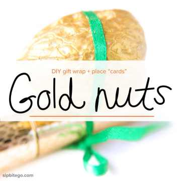 See these creative place cards: Gold painted nuts. Great for gift wrap too. @sipbitego
