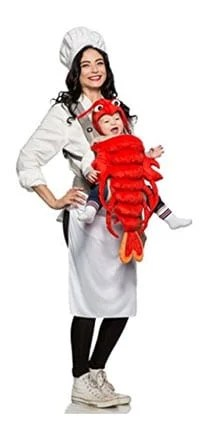 baby matching Halloween costume ideas chef lobster carrier