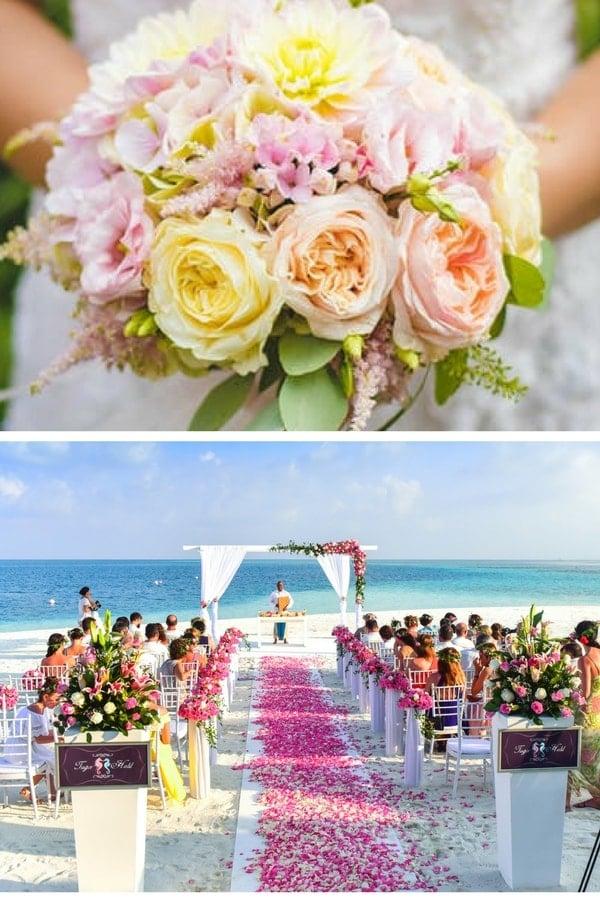 wedding reception beach pink ribbon chairs min