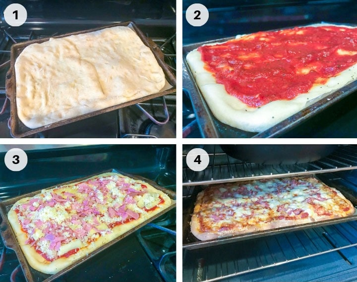 step by step guide to adding pizza toppings to homemade pizza with red pizza sauce cheese and ham