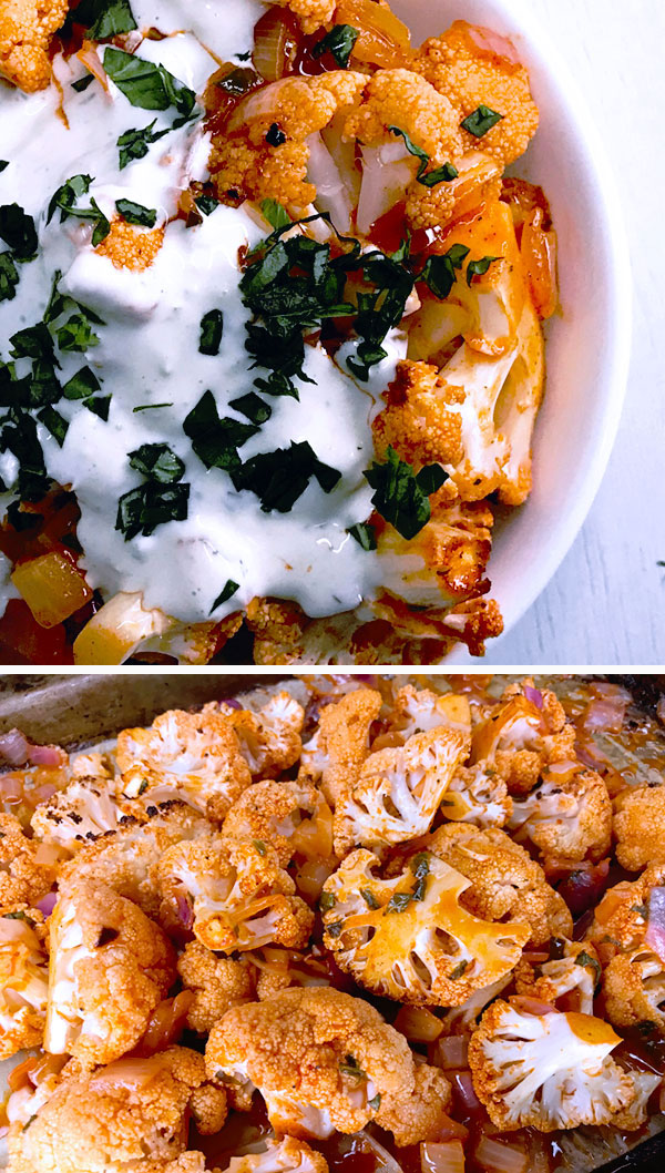 Easy baked buffalo cauliflower bites recipe with red onion with toby's bleu cheese dressing sprinkled with fresh cilantro