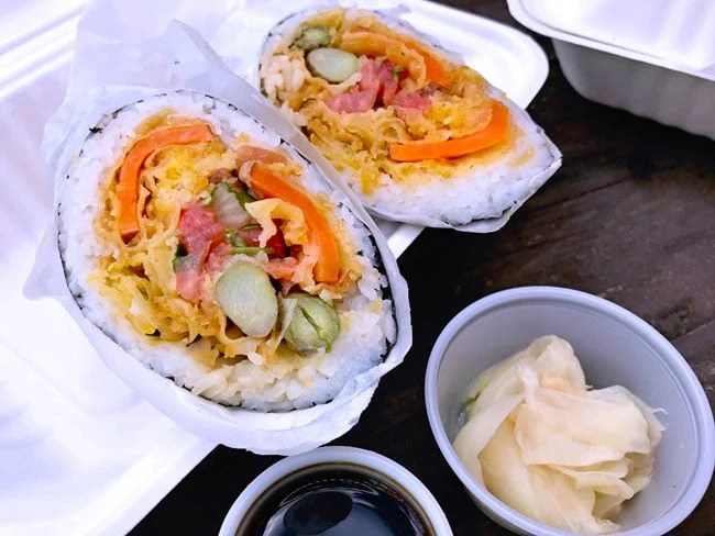 Giant sushi burrito at Rollin Fresh NW in Portland
