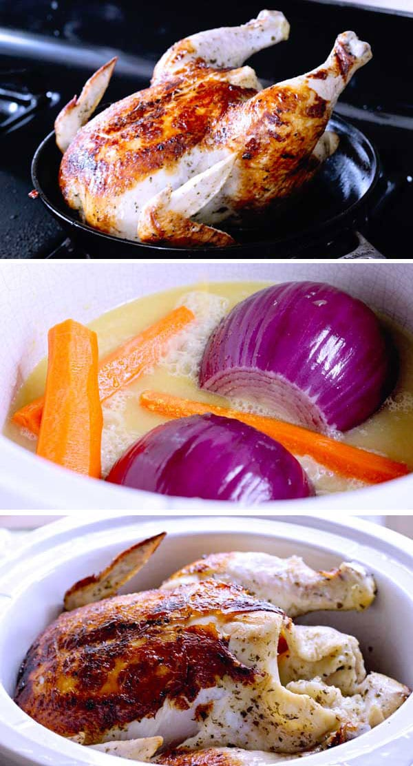 How to slow cook a whole chicken in the crock pot with garlic red onion and carrots