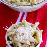 creamy pesto pasta salad with mozzarella and with store bought pesto