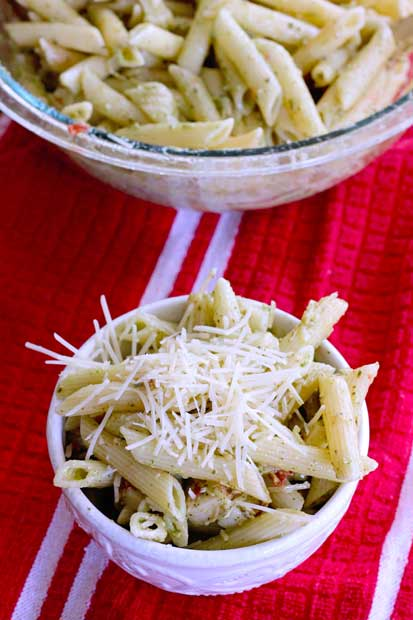 creamy pesto pasta salad with mozzarella and with store bought pesto