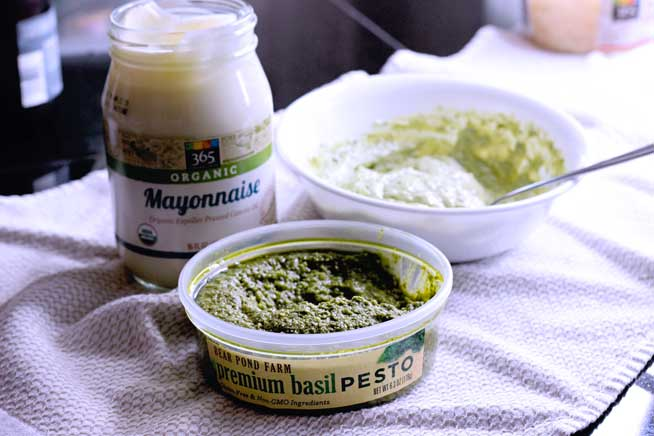 pesto salad dressing with store bought pesto and mayo