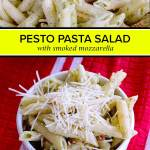 creamy pesto pasta salad with store bought pesto and mozarella
