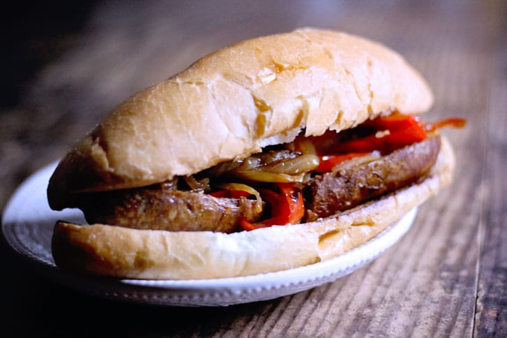 Slow cooked sausage sandwiches with peppers and onions