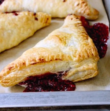 Fresh raspberry puff pastry turnovers for a breakfast-3
