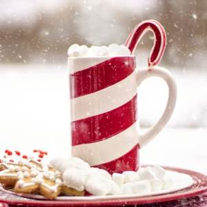winter food scene with candy cane hot chocolate and cookies