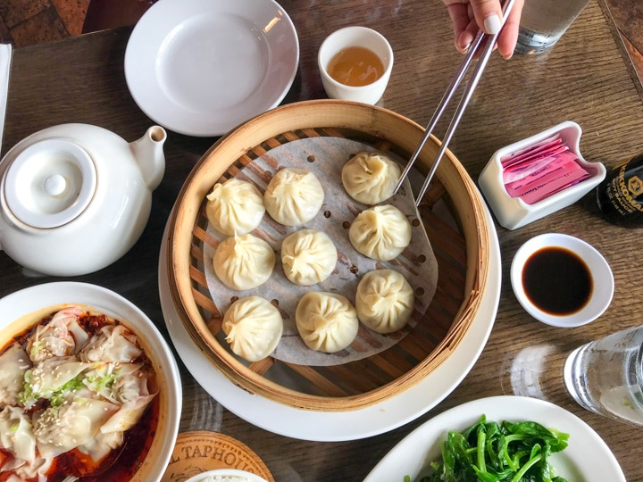 Order of duck House soup dumplings in PDX