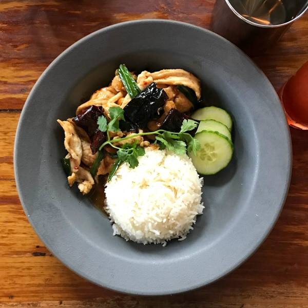 Thai comfort food in Portland at Paadee with a table of cashew chicken