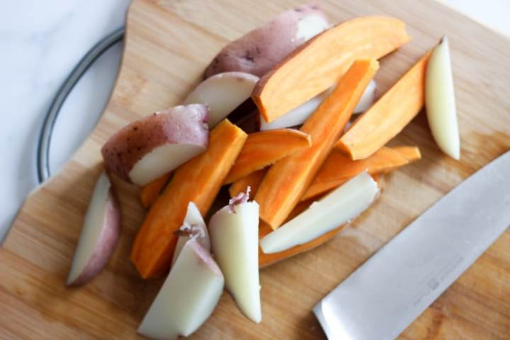 potatoes cut lengthwise into wedges