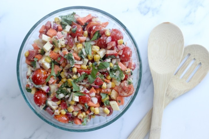 make-ahead Mexican salad in a glass bowl