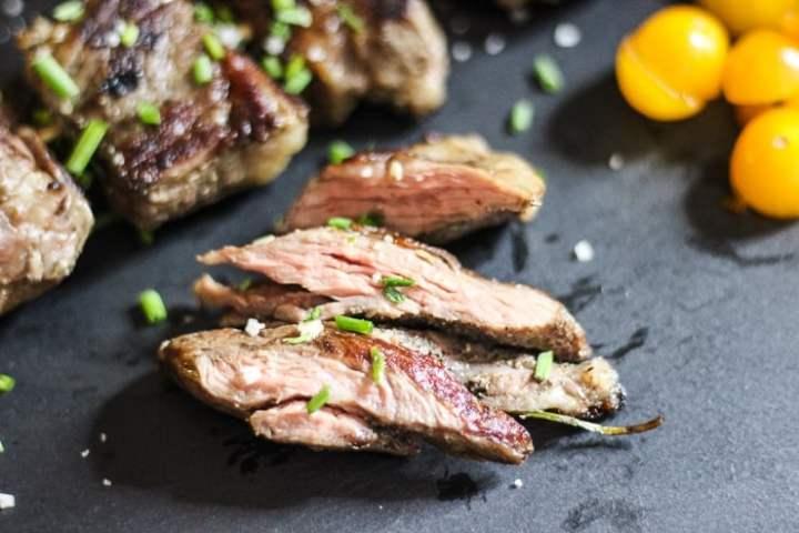 closeup of sous vide beef kebabs