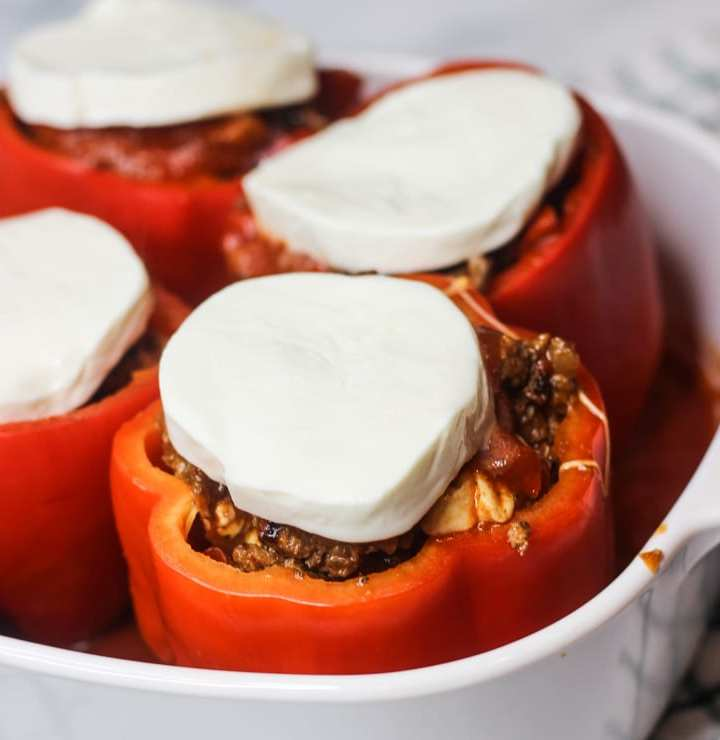 Cheesy Italian Stuffed Peppers in a Baking Dish