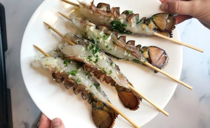 sous vide lobster tails on skewers