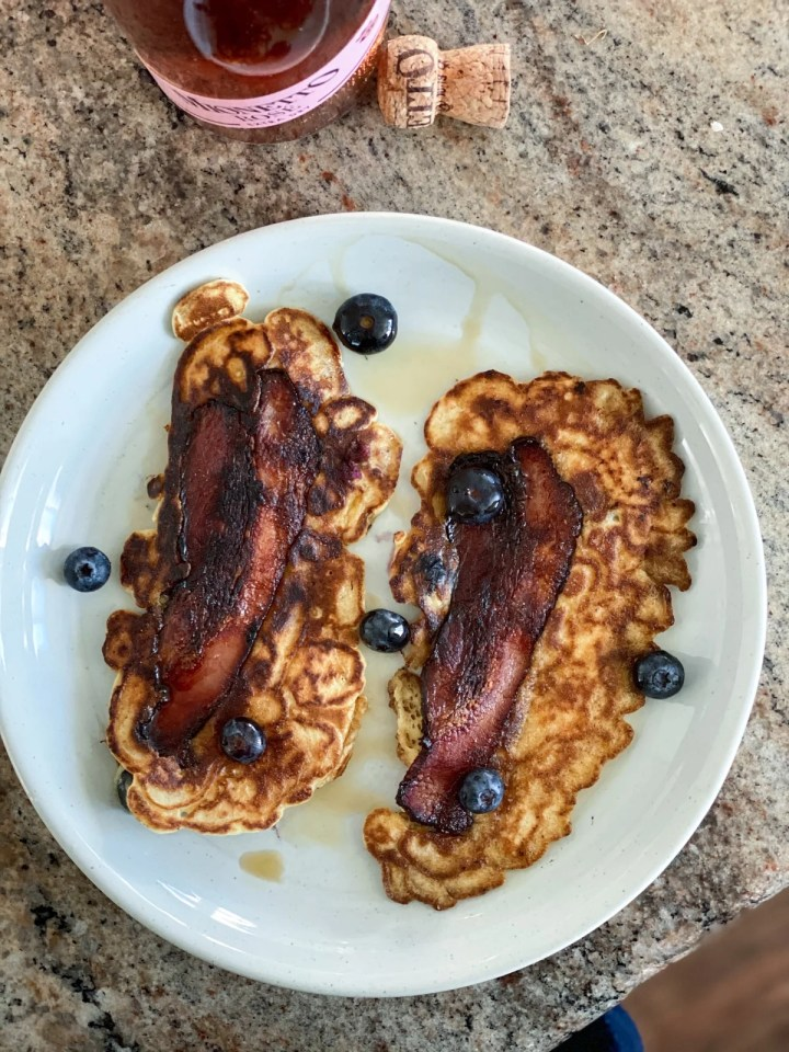 bacon pancakes with blueberries from a costco haul