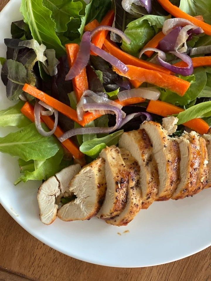 salad with vegetables and chicken from a monthly Costco grocery haul