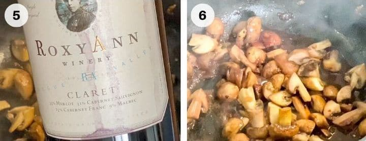 steps to adding red wine to mushrooms