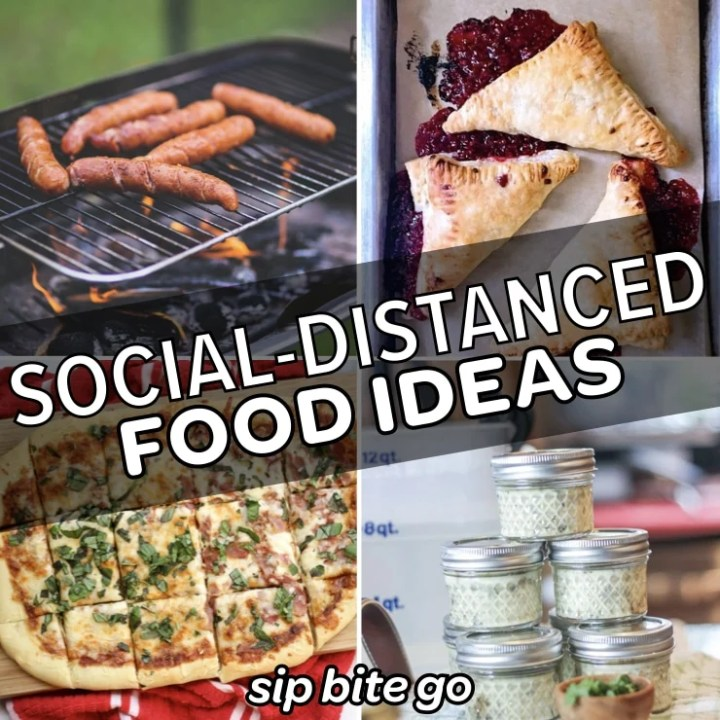 food ideas for socially distanced gatherings collage with sous vide egg bites and pizza and hot dogs