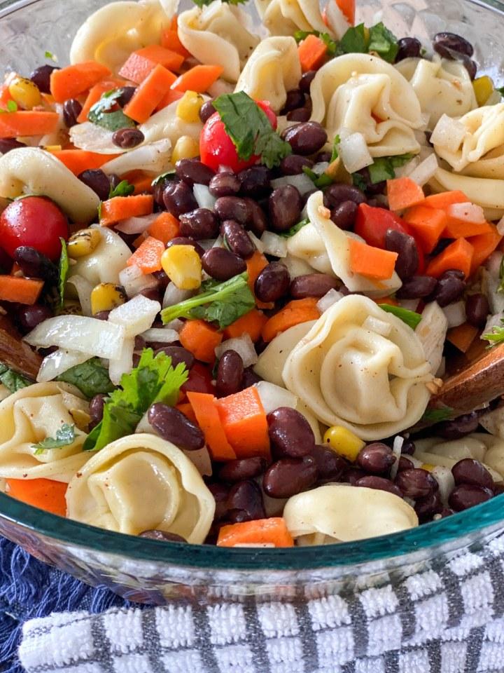 cilantro lime dressing on pasta salad