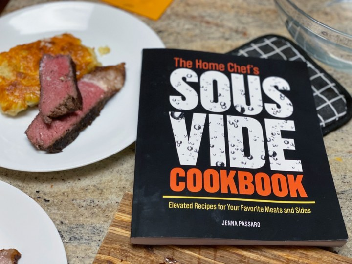 The Home Chef's Sous Vide Cookbook and sous vide NY strip steak