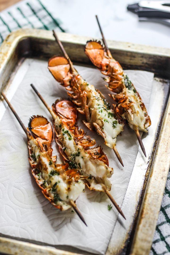 Sous vide lobster tails on skewers