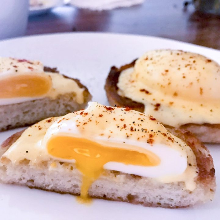 sous vide poached eggs benedict with oozing yolks