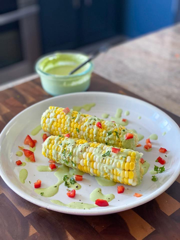 sweet corn sous vide cooked in butter