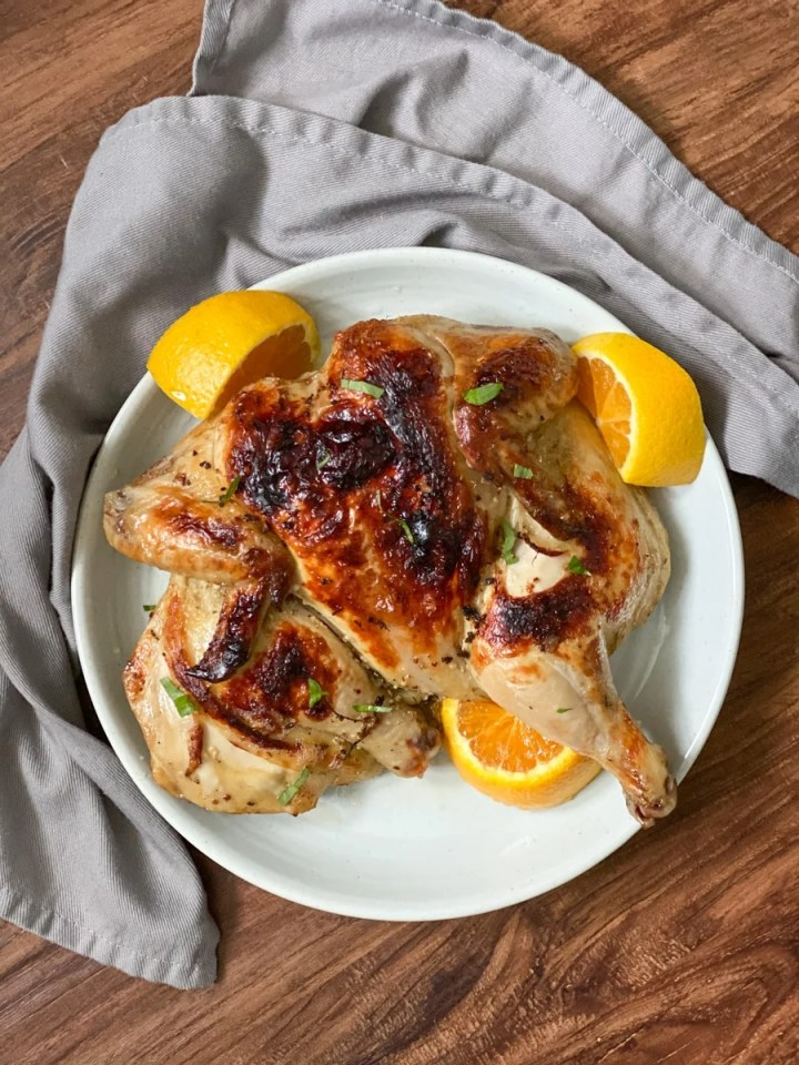 plated sous vide roast chicken