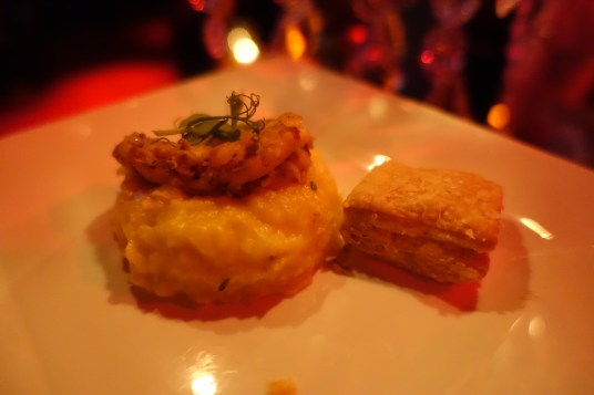 Squash risotto with jerk chicken, puff pastry, microgreens