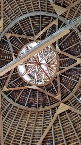 The roof of the round barn