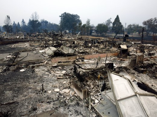 Houses on Jefferson Court in Middletown, CA were burned to the ground Saturday night into Sunday morning. Firefighters said they were given minutes to get residents out. Photo by Josh Keppel, NBC Bay Area